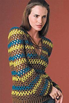 Free Crochet Pattern: Retro Striped Pullover