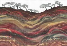 Heart of the Earth - monotype by Northumberland artist Rebecca Vincent