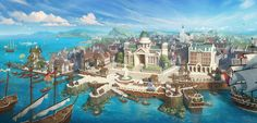 "The concept art of ""over ocean mobile(大航海手游)"" (Netease China) Fantasy Town, Fantasy Castle, Medieval Fantasy, Fantasy World, Fantasy Art Landscapes, Fantasy Landscape, Landscape Art, Fantasy Concept Art, Fantasy Artwork"