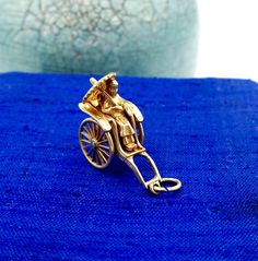 Pulled Rickshaw Movable Charm Pendant 14K Gold