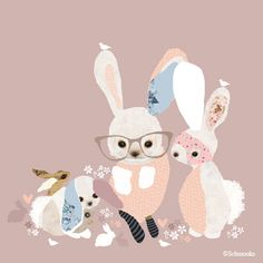 Pink Bunny Print Girls Nursery Room  'Bunny Business' by schmooks