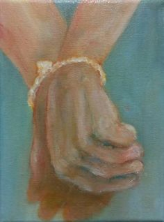 """""""Study For Tied Hands""""  (2015) oil, pencil, ink, gouache and varnish on canvas 21cm x 15cm x 1.5cm"""