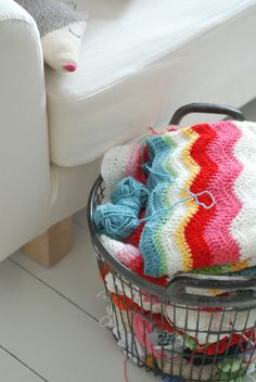 This image of a basket by the sofajust makes me want to curl up and crochet. It's from a beautifully written blog by @Emma Lamb