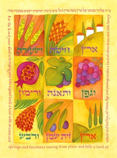 """The Land of Plenty. - Deuteronomy 8:8, """"A land of wheat, and barley, and vines, and fig trees, and pomegranates; a land of oil olive, and honey;"""" - Chanan Mazal - Seven Species of the Land of Israel 