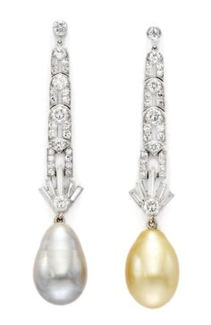 Art Deco Natural Pearl, Platinum and Diamond Ear Pendants, c.1930.  Available Exclusively at FD.  www.fd-inspired.com
