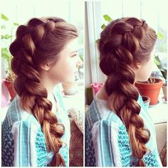 Pancaked Dutch Braid. How do you get your hair to have that much volume?