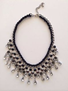 LLD Jewellery Crystal Bead Drop Fabric Collar Necklace Celeb Blog Black Silver