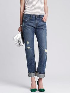 Indigo Selvedge Distressed Boyfriend Jean