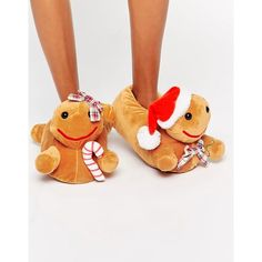 ASOS NEWLYBREADS Christmas Gingerbread Slippers (45 BRL) ❤ liked on Polyvore featuring shoes, slippers and tan