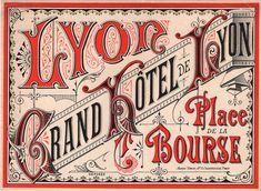 Vintage Typography, Typography Letters, Hotel Lyon, Travel Album, Vintage Hotels, Luggage Labels, Vintage Travel Posters, Vintage Luggage, Typography Inspiration