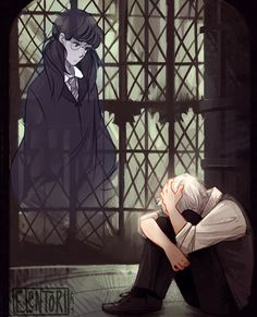 """Photo: Draco Malfoy was standing with his back to the door, his hands clutching either side of the sink, his white-blond head bowed.  """"Don't,"""" crooned Moaning Myrtle's voice from one of the cubicles. Don't... tell me what's wrong... I can help you.""""  """"No one can help me,"""" said Malfoy. His whole body was shaking. """"I can't do it... I can't... It won't work... and unless I do it soon... he says he'll kill me...""""  —Harry Potter and the Half-Blood Prince  Art by: elentori-art.tumblr.com"""