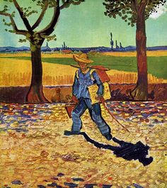 """Van Gogh, """"The Painter on the Road to Tarascon"""", 1888.  Thought lost in WWII bombing of Magdeburg, Germany."""