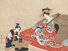 Courtesan Playing Shamisen with Attendant.  .  ink and color on silk.  About 1810's, Japan.  Artist  Utagawa Kuninaga