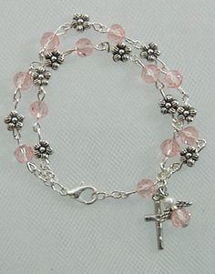 Pink & Flower Angel Double Rosary Bracelet