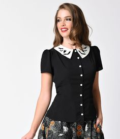 Hell Bunny Black Short Sleeve Button Up Full Moon Bat Blouse - Blouses - Tops - Clothing | Unique Vintage