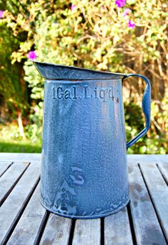 SOLD Vintage Graniteware Gray Mottled 1 Gallon Measuring Pitcher/Very Good Condition. $70.00, via Etsy.