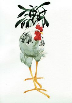 by Mary Ann Rogers Watercolor Bird, Watercolor Animals, Watercolor Paintings, Watercolours, Chickens And Roosters, Pet Chickens, Art And Illustration, Chicken Art, Galo