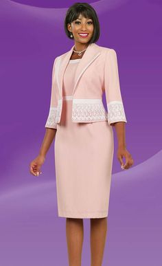 Ben Marc Executive 11523 Two Piece Dress Set With Lace Adornment