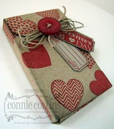 Valentine Boutique Box...Stamp sets:Hearts a Flutter & Ticket stamp set  By:Connie Collins, Constantly Stamping