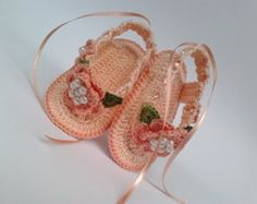 A128 Sapatinhos Croche Sandalia menina