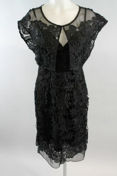 NWT EVA FRANCO Black Floral Overlay V-Neck Detail Cocktail Dress Sz 2 $415