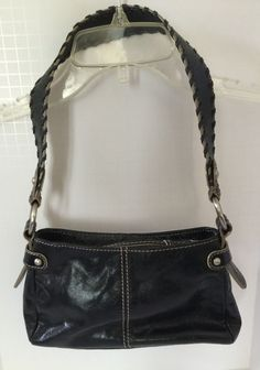 Franklin Covey Full Grain Black Leather Purse #31900.457 Small Bag Whip Stitch #FranklinCovey #Baguette