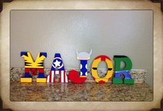 Super hero hand painted wood letters by CandiedConfections on Etsy