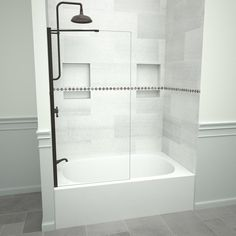 Tile Redi Redi Screen 5400 60 in. W x 60 in. H Semi-Frameless Fixed Bathtub Door in Polished Chrome without handle Recessed Shower Shelf, Shower Shelves, Bathtub Doors, Shower Doors, Bathtub With Glass Door, Small Bathtub, Small Bathroom, Bathroom Showers, Downstairs Bathroom
