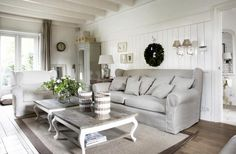 Rustic and white Sitting room, love, love, love a white room!