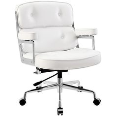 LexMod Remix Deluxe Vinyl Executive Office Chair, White (3.768.520 IDR) ❤ liked on Polyvore featuring home, furniture, chairs, office chairs, white furniture, white office chair, white desk chair, vinyl furniture and executive desk chair