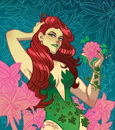Drawing Dc Comics A redhead for a redhead. Art trade with She did a Kate Kane for me! Dc Poison Ivy, Poison Ivy Dc Comics, Poison Ivy Batman, Poison Ivy Villain, Poison Ivy Character, Batgirl, Catwoman, Batman Robin, Black Canary