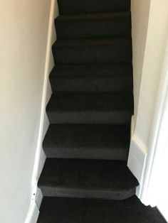 New chocolate brown carpet on stairs