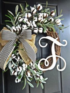 Full wreath of cotton and olive branch, southern wreath, cotton wreath, jute wreath, summer … – Burlap Monogram Wreath, Diy Wreath, Wreath Burlap, Wreath Ideas, Tulle Wreath, Snowman Wreath, Diy Snowman, Letter Wreath, Christmas Wreaths For Front Door