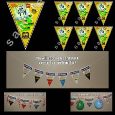 LEGO HERO FACTORY 6 TRIANGLE PENNANTS