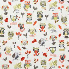 Ollie Owl 1 - rouge signal - Tissus à chouettes - Décoration pour enfants - Tissus pour enfants - animaux - Tissus de décoration – Animaux - tissus.net
