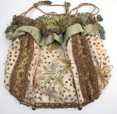1830's Ladies' Reticule, Metallic Lace, Spangles (item #1099709, detailed views)
