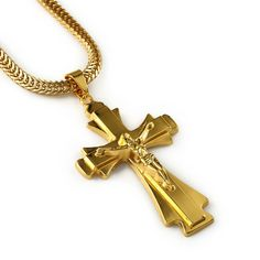 Hip Hop Rapper JESUS Christ Cross Pendants Necklace Men  Yellow Gold Plated Chain Male Christian Jewelry Chain