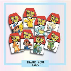 Pokemon Thank You Tags  Prints 8 Per A4 Page W2.5 x H3.7 Just Add Fun!!  You will receive a Link to download your file containing all your order. Any issues or concerns please contact us!  This is for a Digital File only. No physical items will be posted out. Please be aware that all color settings differ on devices/monitors and printers.