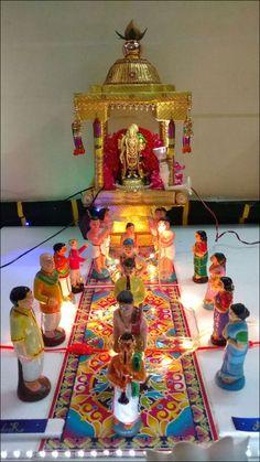 Golu is the festive display of dolls and figurines in South India Diy Diwali Decorations, Festival Decorations, Flower Decorations, Dolls House Figures, Doll Houses, Navratri Puja, Ganpati Picture, Janmashtami Decoration, Ganapati Decoration