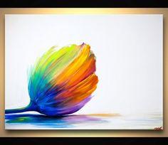 ... Painting Acrylics, Flower Paintings, Rainbows Flower, Tulip Flower