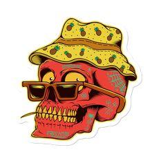 Joe Tamponi Beach Skull Maracaibo T Shirt By Joetamponi Design By Humans Vintage Skateboards, Skateboard Design, Flash Art, Dope Art, Cool Stickers, Skull Art, Body Art Tattoos, Cartoon Art, Sticker Design