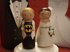 Custom Superhero  and his Bride Cake Topper-Batman, Superman, Thor, Captain America,  Ironman -Personalized for You