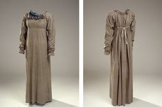 There are relatively many dresses in chemise or empire cut preserved in the National Museum's costume collection. It may be because they were difficult to sew on so they could be adapted 1820s and 1830s fashion. It is the white party dresses that fills most of the joints, while the colorful everyday dresses are more rare.  The tan everyday dress in chemisefacon from around 1810-20 is a rare specimen.