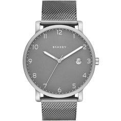 Skagen 'Hagen' Mesh Strap Watch, 40Mm ($195) ❤ liked on Polyvore featuring jewelry, watches, skagen wrist watch, skagen, skagen jewelry, skagen watches and dial watches
