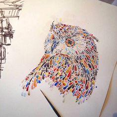 Animals Drawings Made with Multicolored Dots – Fubiz Media ana enshina pointilism