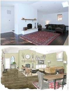 See the before and after from this redesign of a great room in Virginia.