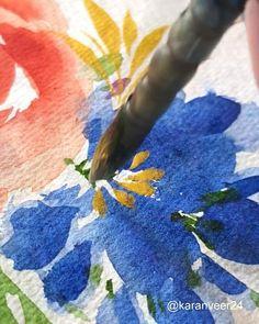 Watercolor Paintings For Beginners, Watercolor Art Lessons, Watercolor Techniques, Watercolor Flowers Tutorial, Flower Tutorial, Floral Watercolor, Dibujos Tumblr A Color, Watercolors, Drawing