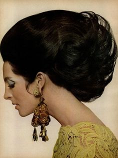 Vogue, February 1967.Amazing hair ... and earrings . 1960s fashion this was serious big hair, not meant for super market shopping, that was other big hair.
