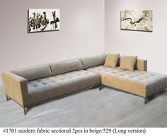 2PC Modern Fabric tufted Sectional Sofa #1701 in beige (Large version) #Handmade #Modern