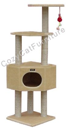 """Corner Cat Furniture Climbing  - Overall size 52""""Hx20""""Lx20"""" W  - Board material Pressed Wood  - Covering material Faux Fur  - Base plate 16""""x16""""  - Max holding weight 20lbs  - 1 large condo 16""""Lx16""""Wx10""""H with 1 8""""Wx9""""H entry. Condo is fully covered inside and outside with plush.  - Upper level platform 14""""x14""""  - Top perch 14""""x14""""  - 6 sisal cat scratching posts. They measure 3.5"""" and are wrapped in 1/4"""" sisal rope."""